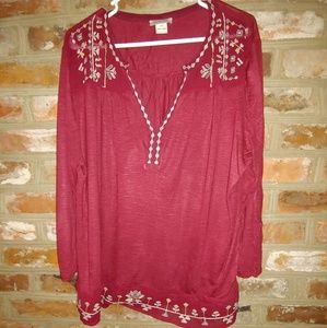 Women's Embroidered Red  Lucky Brand Blouse